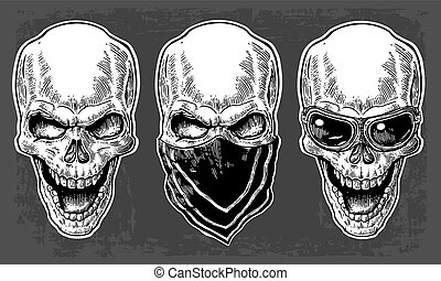 Skull smiling with bandana and glasses for motorcycle. Black vintage vector illustration. For poster and tattoo biker club. Hand drawn design element isolated on dark background.