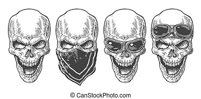 Skull smiling with bandana and glasses for motorcycle. Black vintage vector illustration. For poster and tattoo biker club. Hand drawn design element isolated on white background.