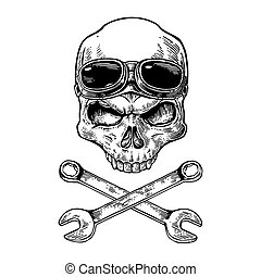 Skull smiling with glasses for motorcycle on forehead and bones. Black vintage vector illustration. For poster and tattoo biker club. Hand drawn design element isolated on white background.