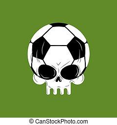 Skull soccer ball. Football skeleton head. Emblem for sports...