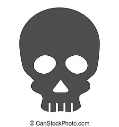 Skull solid icon. Deadman scary skeleton head. Halloween party vector design concept, glyph style pictogram on white background.