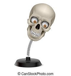 Skull souvenir - Table souvenir with grinning human skull on...