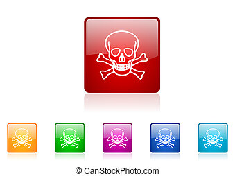skull square web glossy icon colorful set