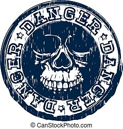 skull stamp danger - Abstract vector illustration blue...
