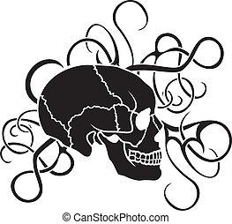 Skull stencil tattoo