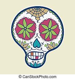 skull., stile, illustration., scarabocchiare, zucchero, hand-drawn, vettore