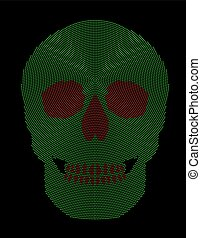 Skull symbol green red radial dot pattern