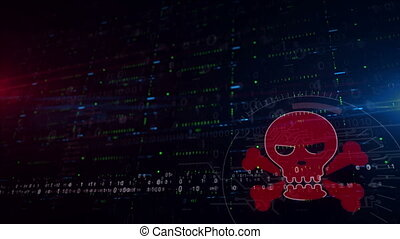 Skull symbol lower thirds background - Cyber crime with...