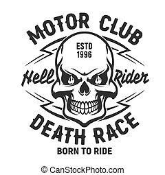 Skull t-shirt print mockup, motor club society - Skull t-...