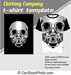 skull t shirt template ,hand drawing vector