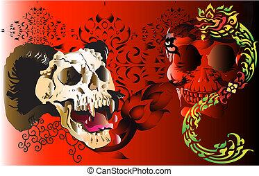 skull tattoo and line thai