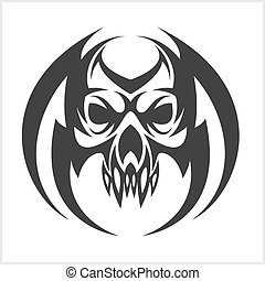Skull tattoo and tribal design - isolated on white