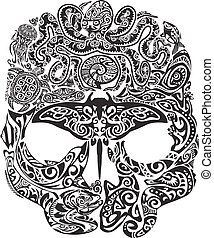 Skull tattoo in the style of Maori with marine life. Sea...