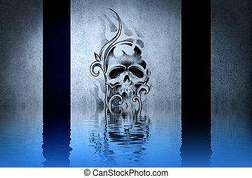 Skull tattoo on blue wall reflections in the water
