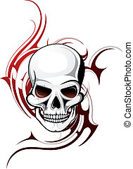 Skull tattoo - Skull shape with tattoo ornament isolated on...