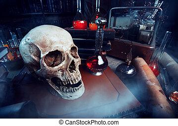 Medieval alchemist laboratory. Halloween. Fairy-tale interior.