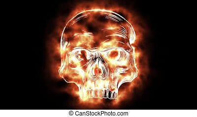 skull that while burning creates digital creation - skull...