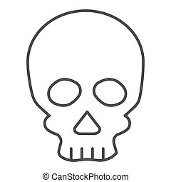 Skull thin line icon. Deadman scary skeleton head. Halloween party vector design concept, outline style pictogram on white background.