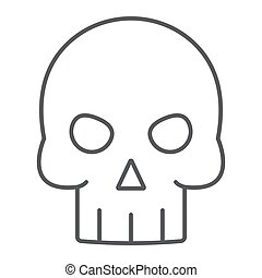 Skull thin line icon, halloween and death, skeleton sign, vector graphics, a linear pattern on a white background, eps 10.