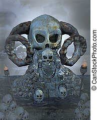 skull throne - 3d render