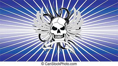 skull tribal tattoo vector backg1