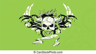 skull tribal tattoo vector backg2