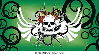 skull tribal tattoo vector backg3
