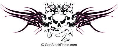skull tribal tattoo10
