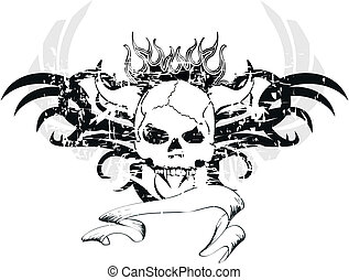 skull tribal tattoo2