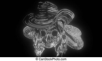 skull twisted by a snake with bones digital neon video - ...