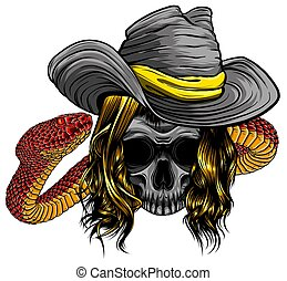 skull twisted by a snake with bones vector