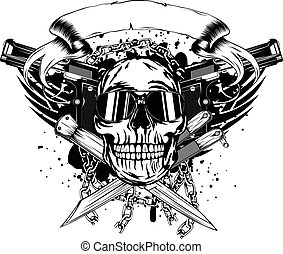 skull two pistols and crossed knifes - Vector illustration...