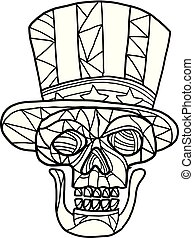 Skull Uncle Sam Black and White Mosaic
