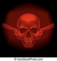 skull vampire and revolvers on a dark red background