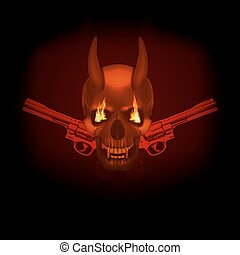 skull vampire with fangs flames and revolvers