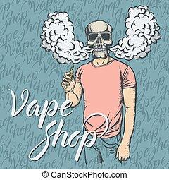Skull vaping an electronic cigarette - Skull vector vape...