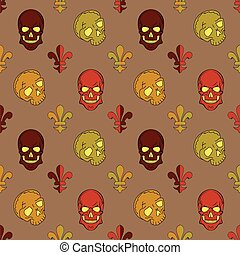 Skull vector, background lily flower, pattern