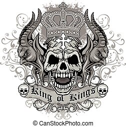 skull - Gothic coat of arms with skull, grunge.vintage...