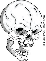 Skull Vector - Drawing Art of Cartoon Scary Skull Face...