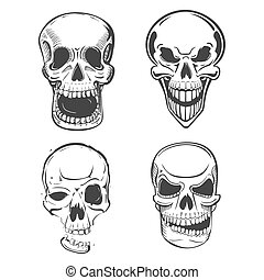 Skull vector tattoo art in sketch style. Set of terrifying...
