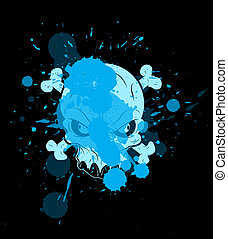 Skull Vector with Splash