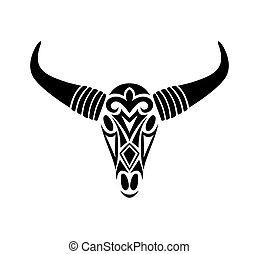 skull., vektor, bika