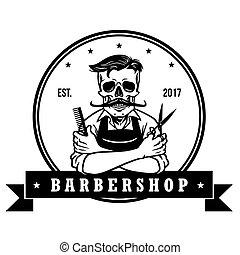 Skull  Vintage Barbershop Logo Template Vector Design