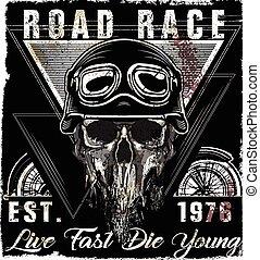 Skull Vintage Motorcycle Logo Emblem T shirt Design