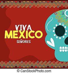 skull viva mexico with red background