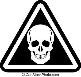 Skull warning sign, vector.