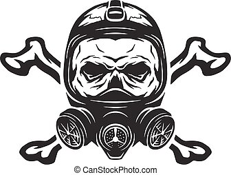 Skull wearing a gas mask and crossbones. Vector...