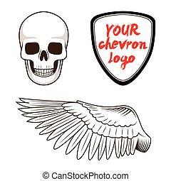 Skull wing and chevron label vector illustration - Skull...