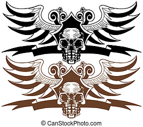 Skull Wing Banner Crest Set isolated on a white background.