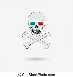 Skull with 3D glasses